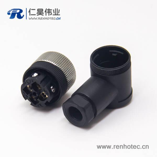 m12组装式90°母弯头4针防水插头接线母头工业连接器