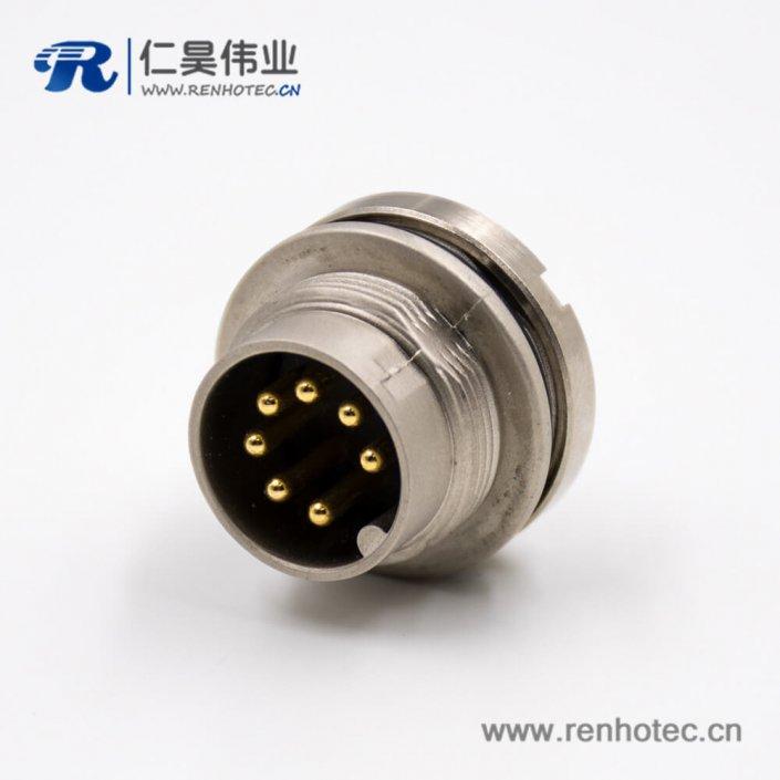 公插座M16板端插座A扣7芯后锁板接线180°传感器连接器