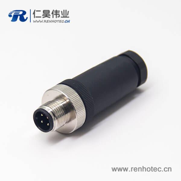 m12接头航空头直式公头插头组装接头锁接直式传感器