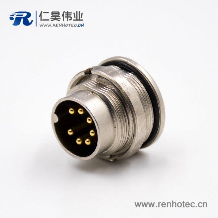 插座公头M16板端插座公头直式前锁板A扣7芯接线焊接式传感器连接器
