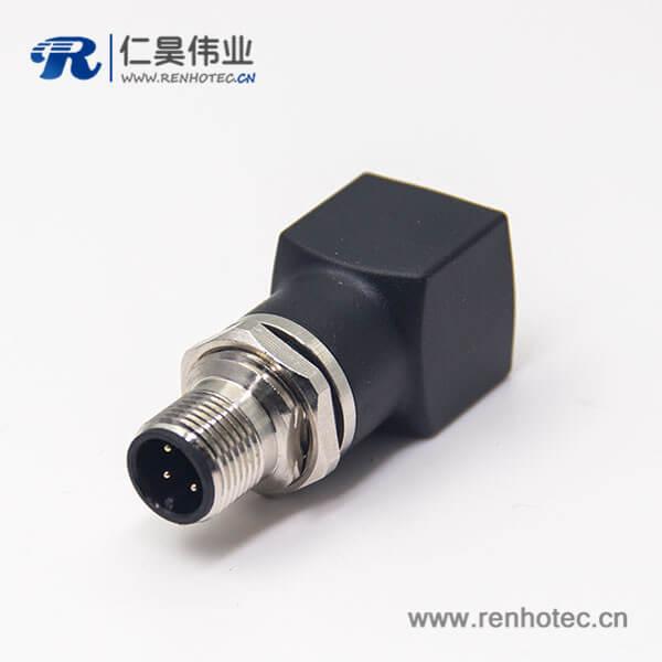 m12公头转rj45母头转接头m12直式4pin穿墙转rj45直型连接器