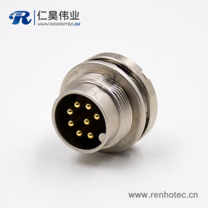 M168p前装面板头板端插座A扣前锁板接线公头直式焊接式传感器连接器