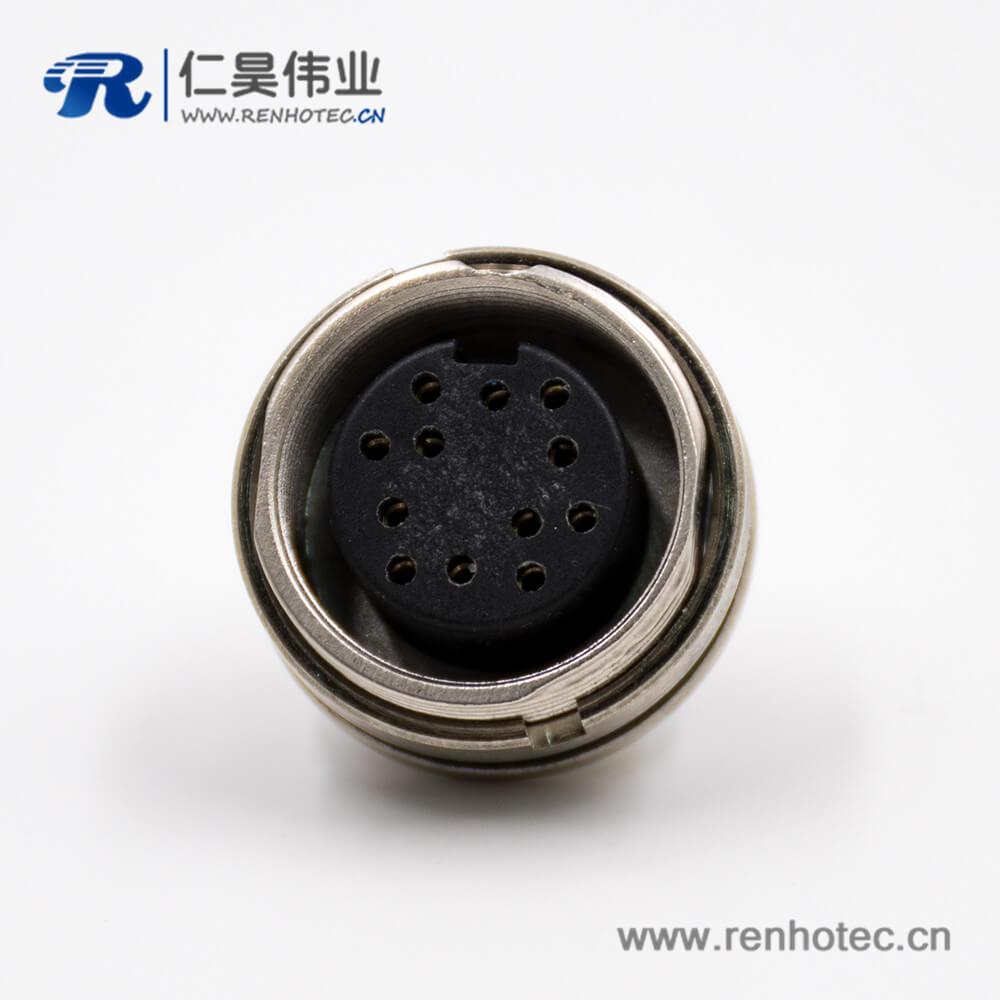 插座母头M16板端插座A扣12芯直式接PCB板前锁板传感器连接器