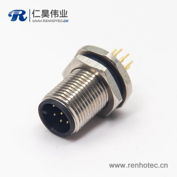 m12防水接头螺纹直式8芯公头前锁板插PCB板安装防水连接器