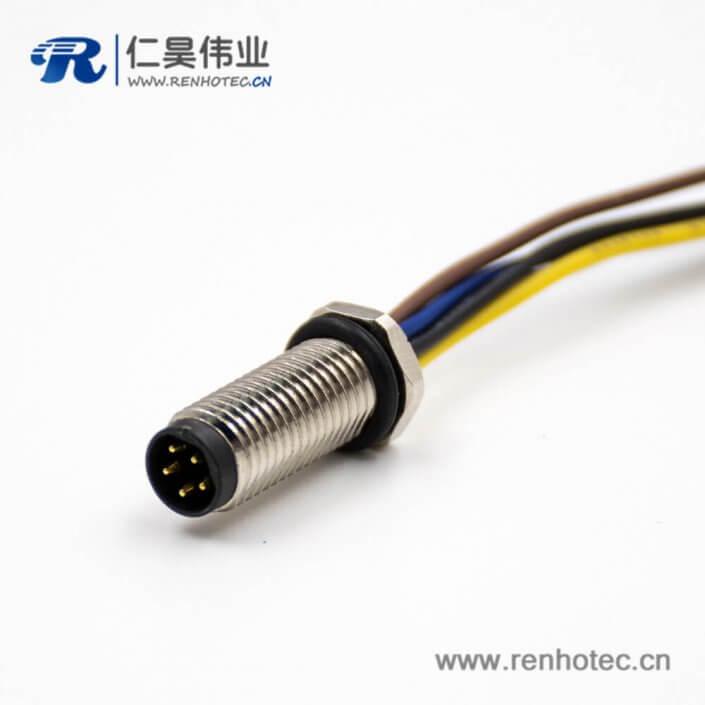 M8公头螺纹带线5芯B扣直式前锁板接线焊接式板端插座连接器