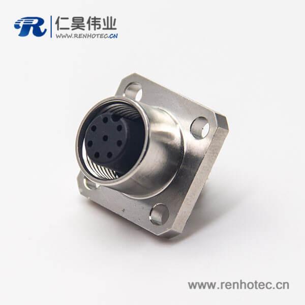 焊线式m12法兰插座8芯母头面板安装A型编码连接器
