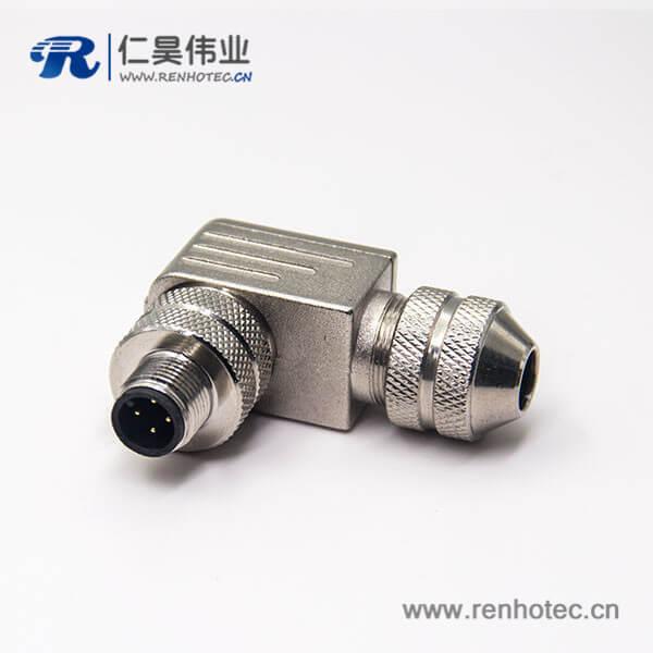 m12组装式连接器弯式金属外壳带屏蔽4芯航空插头