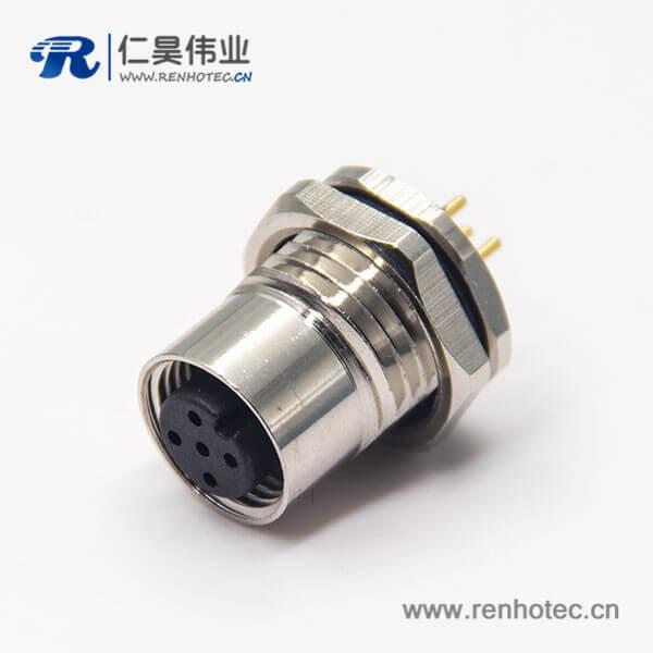 m12连接器pcb直式母头5芯前锁板航空防水插座