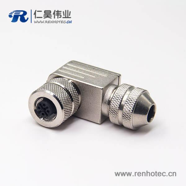 航空弯插头m12全金属接线带屏蔽组装式5芯母头
