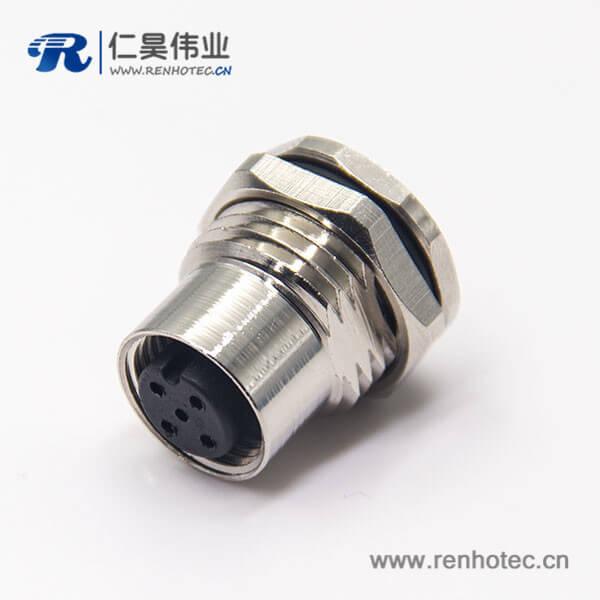 m12连接器5针板端穿墙焊线式直式防水插座母头