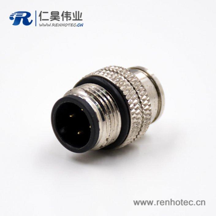 M12连接器A扣公头直式注塑焊线式带屏蔽4芯组装接头传感器