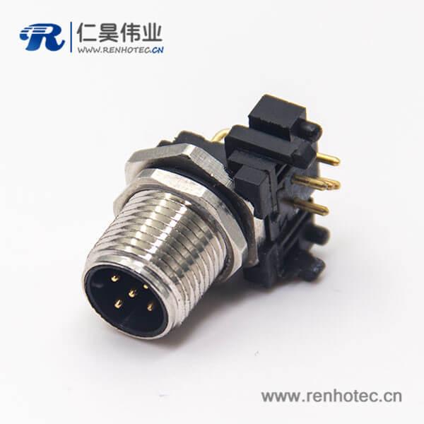 以太网连接m12公头插座穿墙防水5针弯脚插板传感器