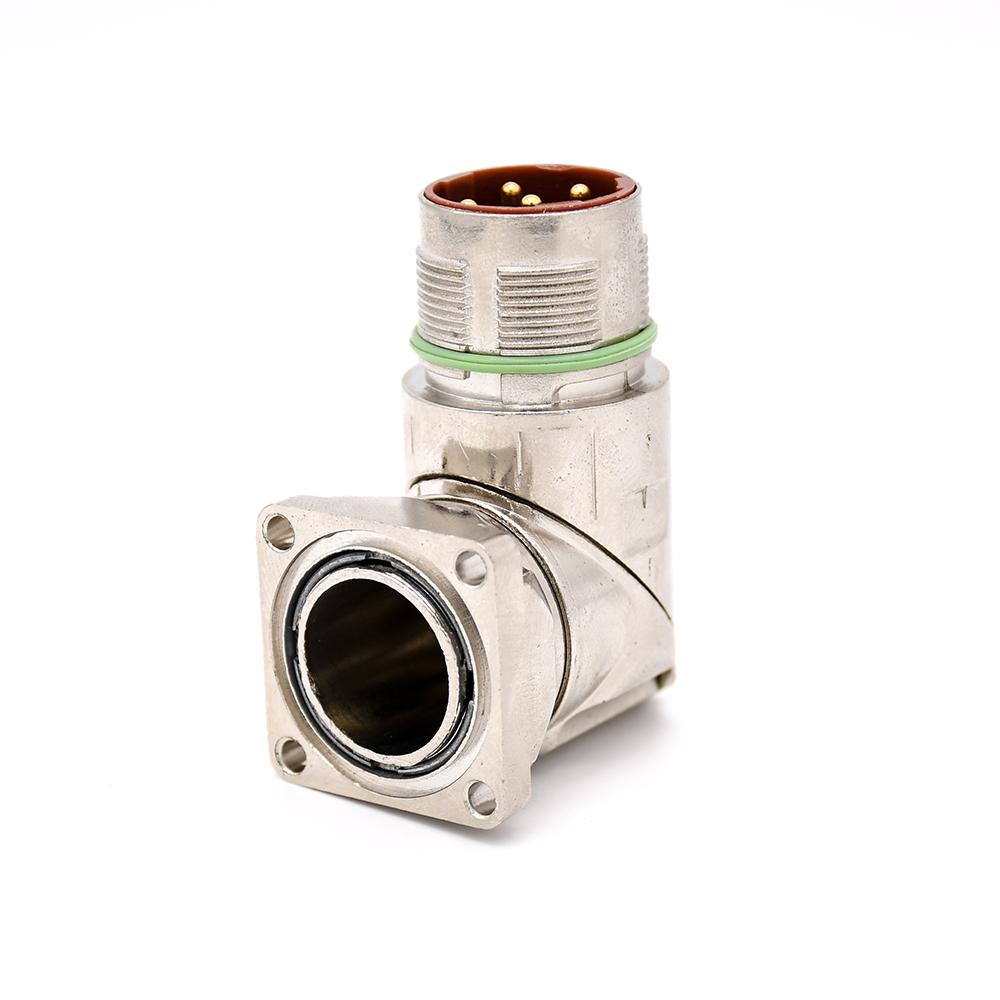 6芯插座 M40 系列弯式防水四孔法兰工业连接器