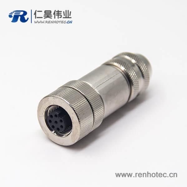 m12防水航空头8pin母头直式锁接A型编码全金属连接器
