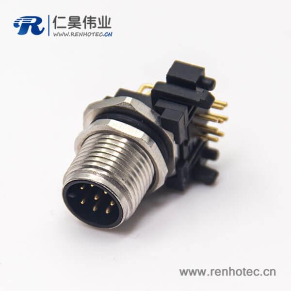 m12 8芯公头连接器插座螺纹前锁板弯式插PCB板防水传感器