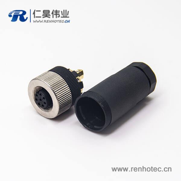 m12压力传感器接线塑胶8芯锁接直式母头航空插头