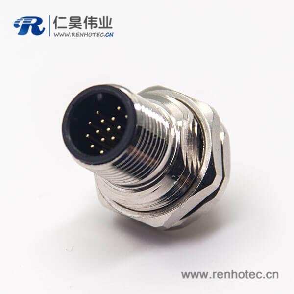 嵌入式防水m12插座17芯插PCB板前锁板直式公头