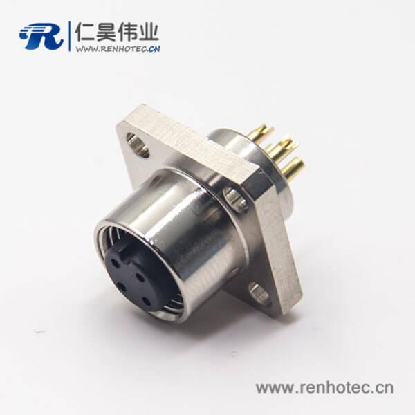 m12 板端航空法兰插座焊线式四芯母头工业防水连接器