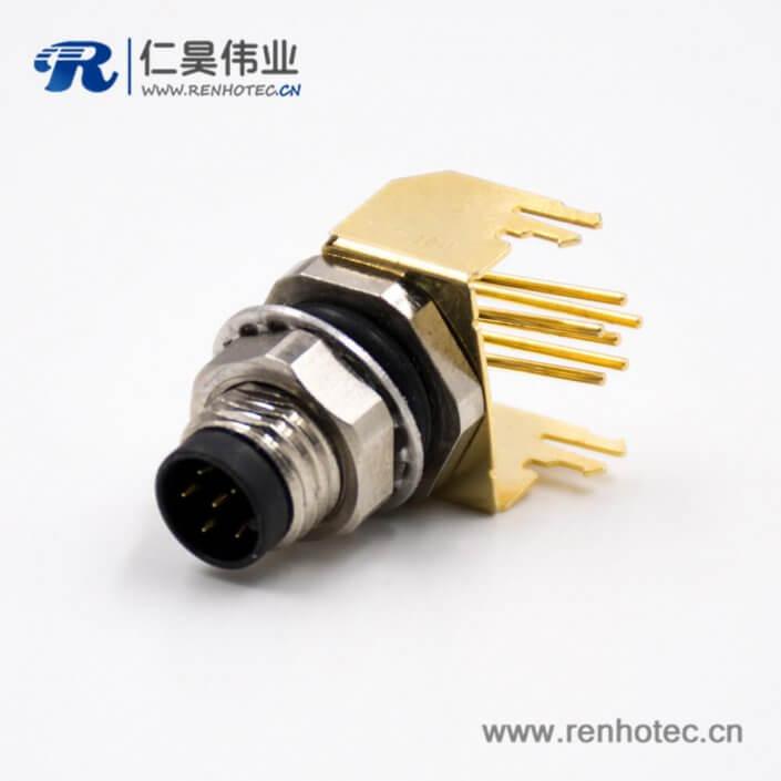 M86芯A扣板端插座公头弯式前锁板接PCB板插座连接器
