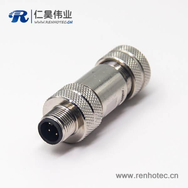 m12全金属屏蔽连接器直公头4pin组装式航空防水插头连接器