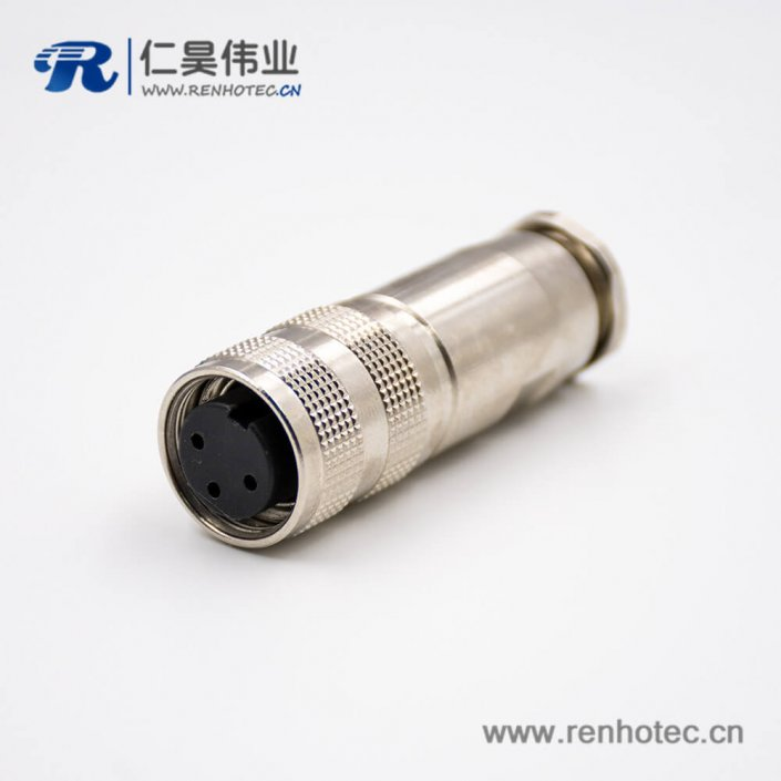 M16三芯防水连接器母头A扣直式接线组装接头全金属带屏蔽