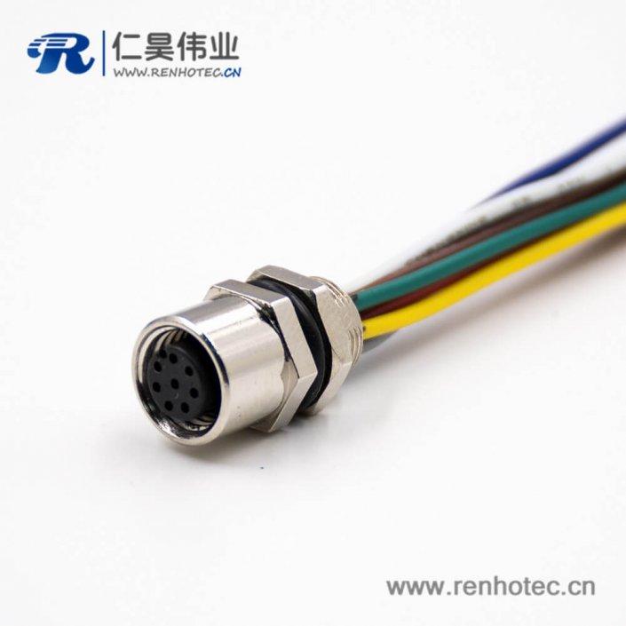 M8连接器母头8芯A扣直式板端插座后锁板接线焊接式传感器