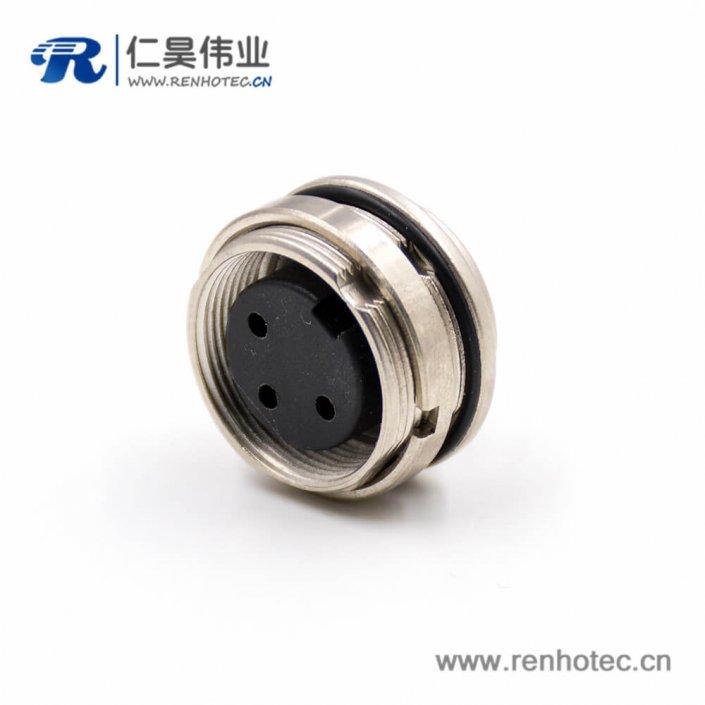 3芯插座M16母头A扣直式焊杯接线板端插座前锁穿墙连接器