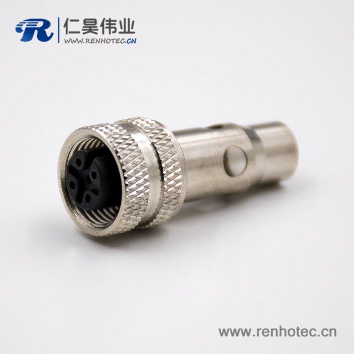 M125针母头A扣直式接线焊接式带屏蔽组装接头连接器