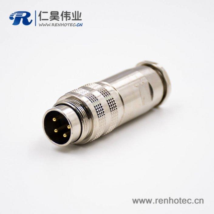 M16组装式4芯公头180°全金属接线连接器带屏蔽组装接头