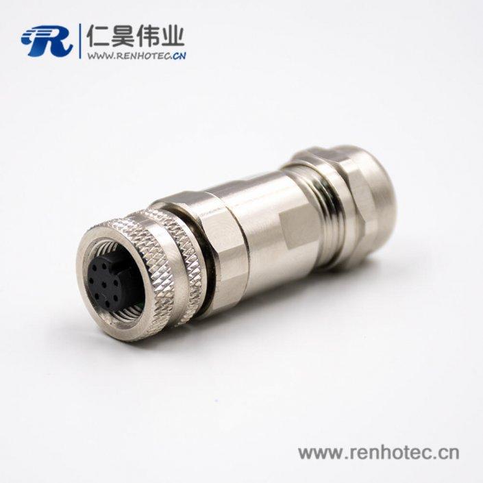 M128芯连接器A扣母头直式带屏蔽接线螺丝锁线组装接头传感器