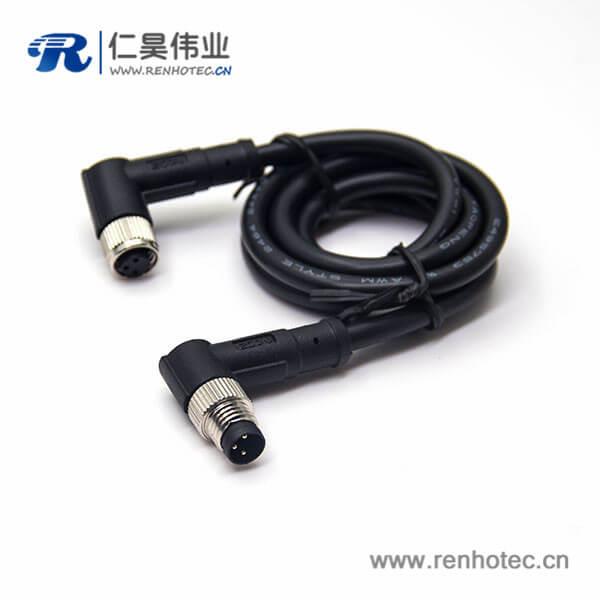 3芯工业防水插头公对母弯式注塑线24AWG线长2米