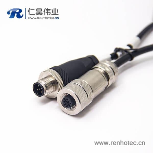 接插件 M12电缆0.5M AWG22五芯公头转全金属母头直式带屏蔽