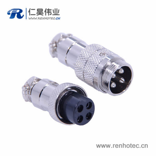 GX16 4芯航空插头接线直式公母对接式连接器