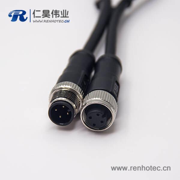 电缆接头m12四芯A编码公对母直式带屏蔽注塑线1M AWG22