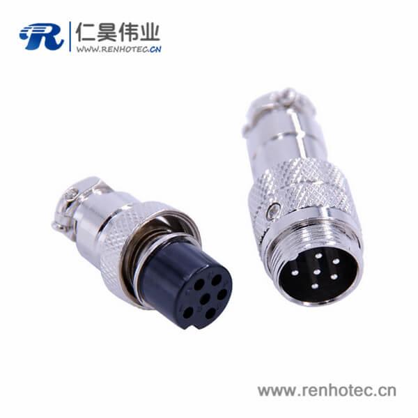 6芯航空对接插头GX16直式金属公母连接器