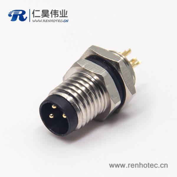 防水接头m8直式螺纹工业母头3pin焊线式前锁板面板安装防水插座