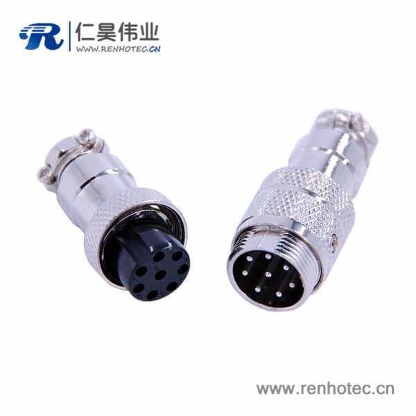 8芯航空插头连接器防水IP55公母对接电子连接器