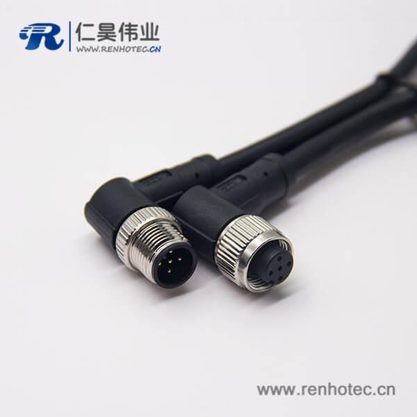 m12电缆信号线5芯90度公对母A编码不带屏蔽工业防水插头1M AWG22