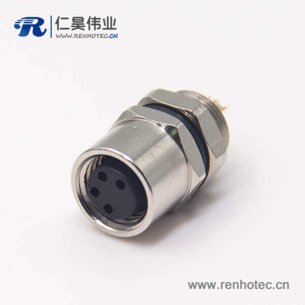 m8螺纹防水接头母头直式4孔后锁板焊线式航空防水插座