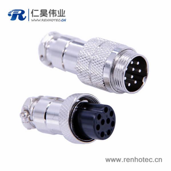 9芯航空插头GX16直式公头母头电缆式连接器