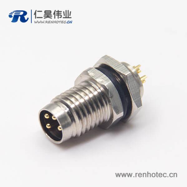 螺纹接头m8直式公头4pin焊线式屏蔽面板安装防水插座
