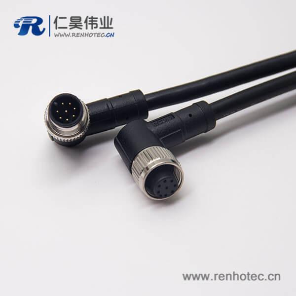 m12航空电缆8芯A型90度直式防水公对母不带屏蔽1M AWG24