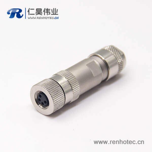 金属过线接头m8直式4pin锁接防水插头