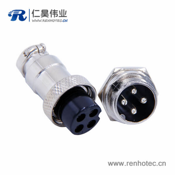 GX16 4芯航空连接器直式电缆式母头公座