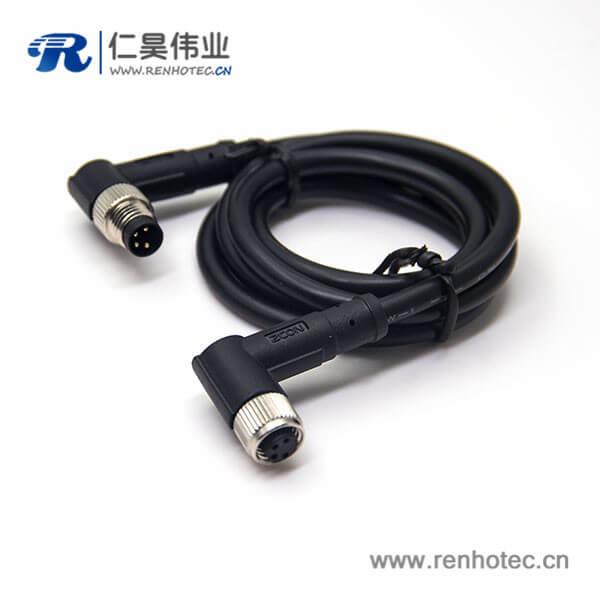 4芯工业防水插头公转母90度电缆24AWG线长2米