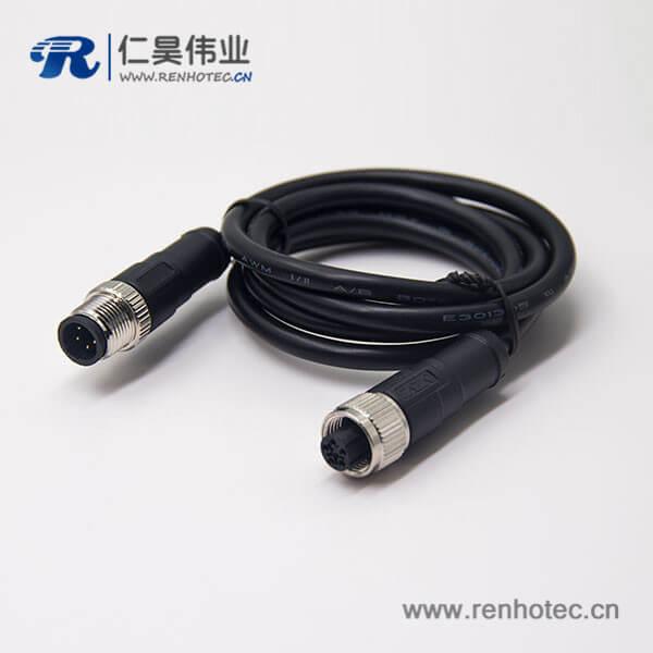 c型螺纹m12 5芯直式电缆公对母插头不带屏蔽传感器1M AWG22