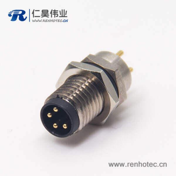 m8 pcb 连接器4pin直式公头前锁板焊线式防水插座