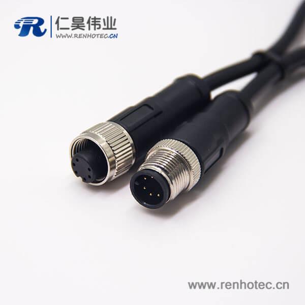 m12 6芯电缆插头180度注塑线缆不带屏蔽A编码1M AWG24
