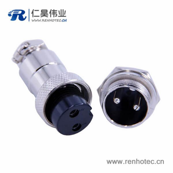 GX20 2芯圆形连接器直式公头插座母插头