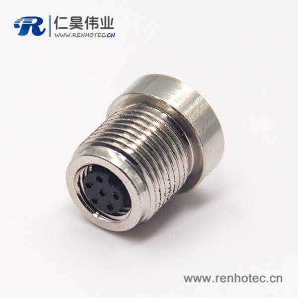 M8 6芯连接器A型前锁插座直式母头焊线圆形连接器
